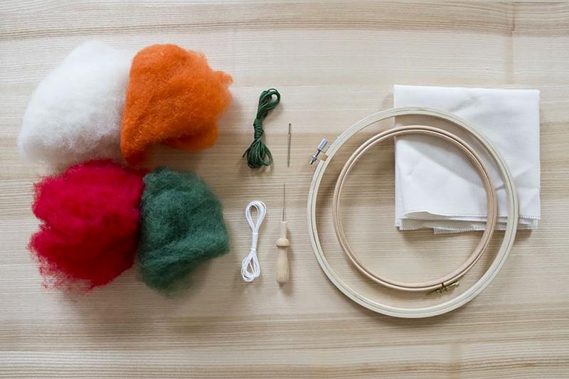 Materialien für den Filzen Workshop mit Sarah Halbeisen in der Guten Stube Andelsbuch.